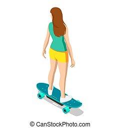 longboarding., white., niña, o, deportivo, longboard, ...