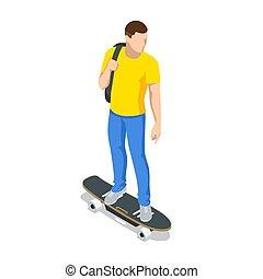 longboarding., white., o, deportivo, hombre, longboard, ...