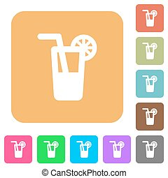 Longdrink rounded square flat icons