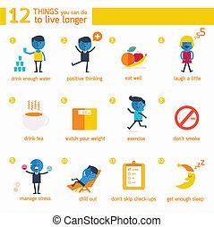 longer., 12, sachen, leben, infographic, buechse, sie
