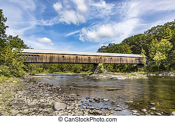 Longest covered Bridge in Brattleboro Vermont over the West river