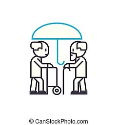 Longevity insurance vector thin line stroke icon. Longevity...
