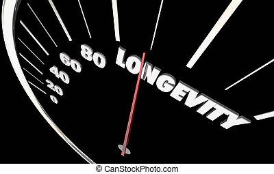 Longevity Lasting Life Span Word Speedometer 3d Illustration