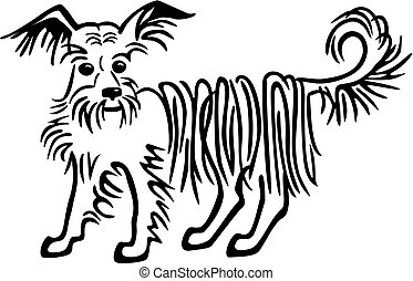 Line drawing of a cute mutt with longhair, terrier type dog.