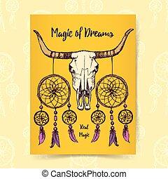 longhorn, croquis, preneur, rêve
