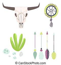 longhorn, kráva lebka, hlavička, vektor, illustration.