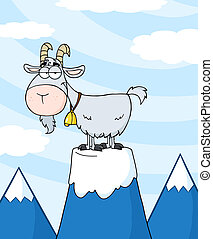 Longhorn On Top Of A Mountain Peak - Longhorn Cartoon...