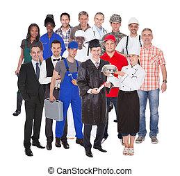 longitud completa, de, gente, con, diferente, ocupaciones
