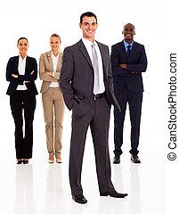 longitud, lleno, grupo, empresarios