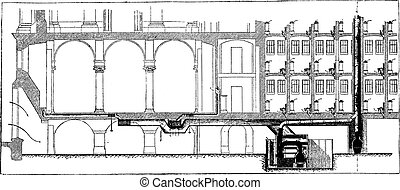 Longitudinal section of the installation of hot water heating, vintage engraving.