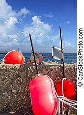 longliner, fisherboat, bóia, equipamento, formentera