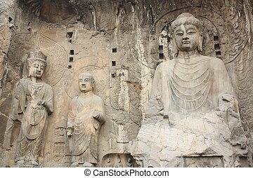 Longmen Caves in Luoyang - Longmen Grottoes with Buddha\'s...