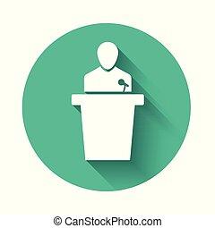 longo, ícone, shadow., branca, isolado, ilustração, button., pessoa, vetorial, verde, podium., orador, orador, círculo, tribune., discurso público, speech.