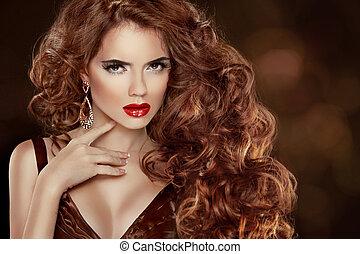 longo, cacheados, vermelho, hair., bonito, moda, mulher, portrait., beleza, modelo, menina, com, luxuoso, lustroso, cabelo, compor, e, accessories., hairstyle., cabelo ondulado, extensions.