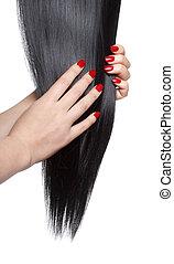 longo, direito, cabelo preto