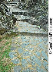 longo, estiramento, de, pedra, passos, guiando, para, destino