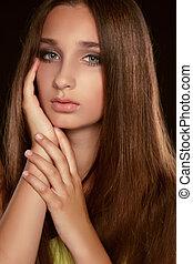 longo, hair., beleza, mulher, com, saudável, marrom, hair., modelo, morena, menina, estúdio, portrait.