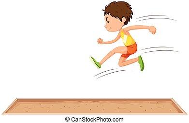 longo, homem, salto, atleta