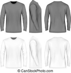 longo, homens, manga, t-shirt.