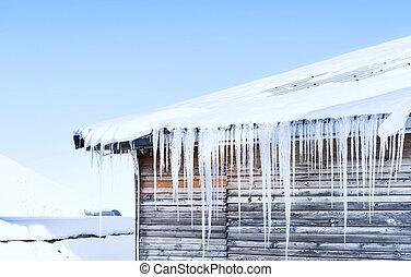 longo, icicles, penduradas