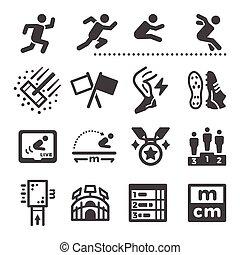 longo, jogo, ícone, salto