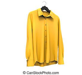 longo, manga camisa, amarela