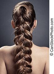 longo, marrom, hair., vista traseira