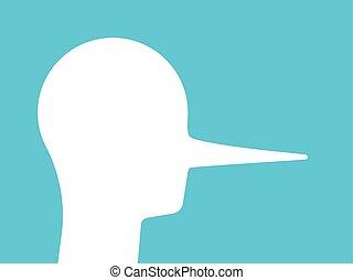 longo, mentiroso, nariz, cabeça