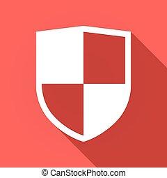 longo, sombra, ícone, com, um, escudo