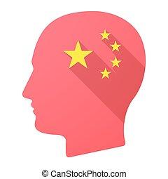longo, sombra, cabeça masculina, ícone, com, a, cinco, estrelas, bandeira china, símbolo