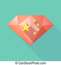 longo, sombra, diamante, ícone, com, a, cinco, estrelas, bandeira china, símbolo