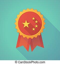 longo, sombra, emblema, ícone, com, a, cinco, estrelas, bandeira china, símbolo