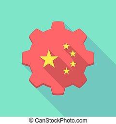 longo, sombra, engrenagem, ícone, com, a, cinco, estrelas, bandeira china, símbolo