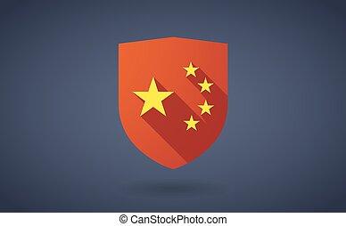 longo, sombra, escudo, ícone, com, a, cinco, estrelas, bandeira china, símbolo