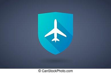 longo, sombra, escudo, ícone, com, um, avião