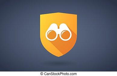 longo, sombra, escudo, ícone, com, um, binóculos