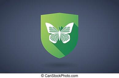longo, sombra, escudo, ícone, com, um, borboleta