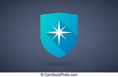 longo, sombra, escudo, ícone, com, um, brilho