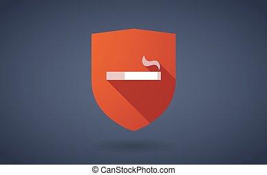 longo, sombra, escudo, ícone, com, um, cigarro