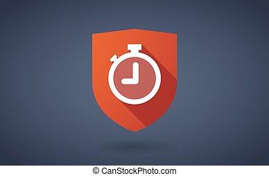 longo, sombra, escudo, ícone, com, um, cronômetro
