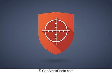 longo, sombra, escudo, ícone, com, um, crosshair