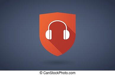 longo, sombra, escudo, ícone, com, um, fones ouvido