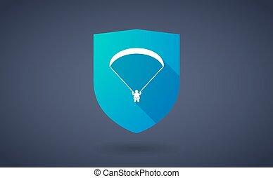 longo, sombra, escudo, ícone, com, um, paraglider