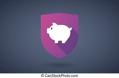 longo, sombra, escudo, ícone, com, um, porca