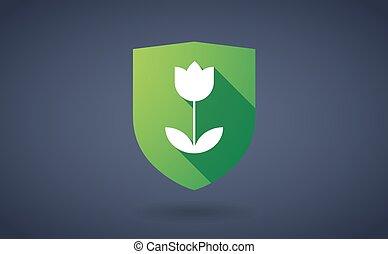 longo, sombra, escudo, ícone, com, um, tulipa
