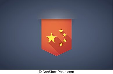 longo, sombra, fita, ícone, com, a, cinco, estrelas, bandeira china, símbolo
