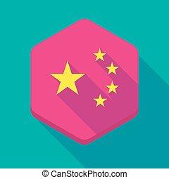 longo, sombra, hexágono, ícone, com, a, cinco, estrelas, bandeira china, símbolo