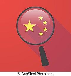 longo, sombra, magnifier, vetorial, ícone, com, a, cinco, estrelas, bandeira china, símbolo