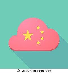 longo, sombra, nuvem, ícone, com, a, cinco, estrelas, bandeira china, símbolo