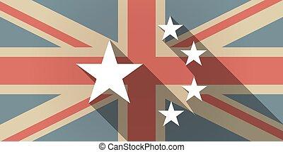 longo, sombra, reino unido, bandeira, ícone, com, a, cinco, estrelas, bandeira china, símbolo